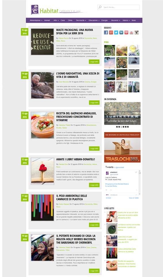 La prima homepage di eHabitat
