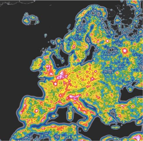 Immagine nuovo atlante mondiale inquinamento luminoso