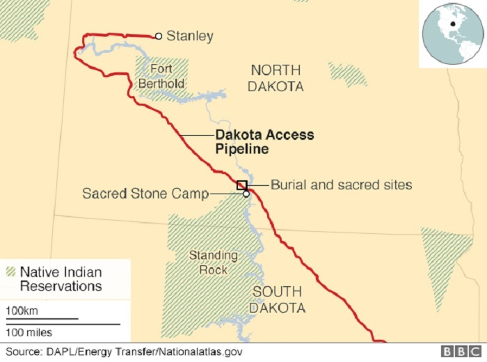 Mappa dell'Oleodotto Dakota Access