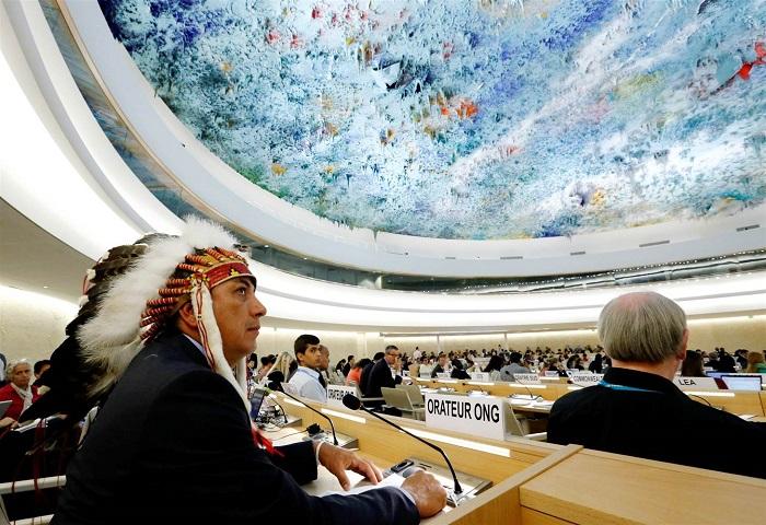 Dave Archambault II, capo della tribù Sioux di Standing Rock durante Il Consiglio per i Diritti Umani delle Nazioni Unite a Ginevra (Svizzera) il 20 settembre 2016. Photo credits Denis Balibouse/Reuters
