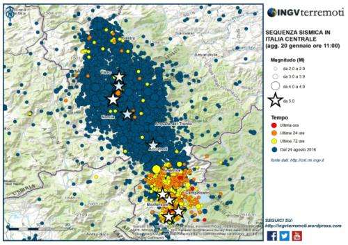 Mappa del territorio colpito dal sisma. Cartina presa da ingvterremoti.wordpress.com il canale di comunicazione dell'Istituto Nazionale di Geofisica e Vulcanologia