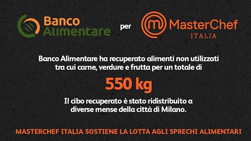 Parte del cibo recuperato nel corso della quarta stagione di Masterchef Italia è stato destinato a Banco Alimentare