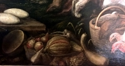 Il grande mercato, particolare. Si riconoscono: melone, pere, mele, aglio zucca, carciofo, cetriolo, senza nessun riferimento alla stagione