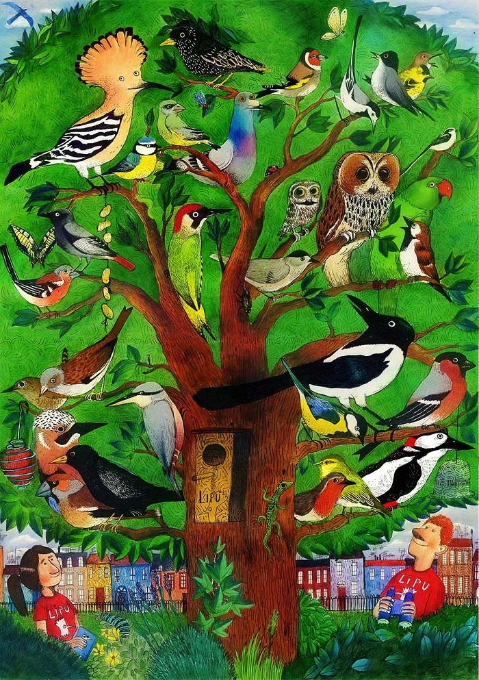 Il giardino degli uccelli, lllustrazione di Federico Appel. Fonte: www.lipu.it