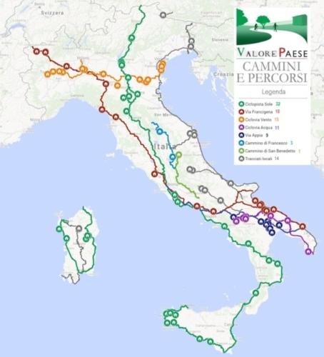 Mappa degli immobili interessati dal progetto Cammini e percorsi