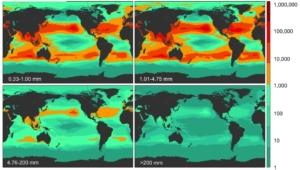 La mappatura della denistà di rifiuti di plastica negli oceani e nei mari del mondo, divisi per numero di frammenti in base alla dimensione