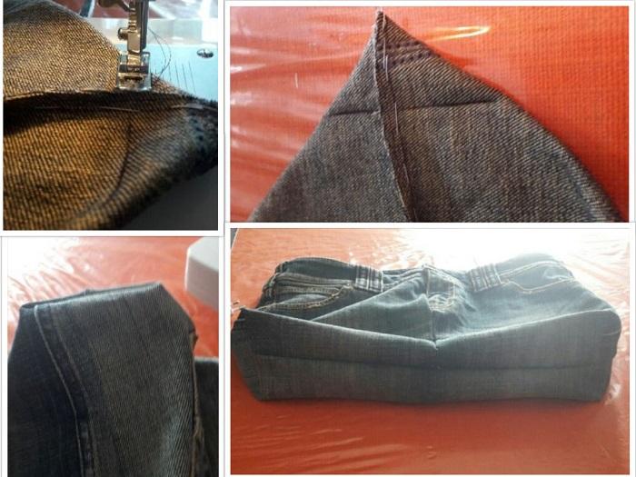 Come cucire gli angoli interni della borsa in modo da creare uno spessore al fondo Foto: Luisa Caforio