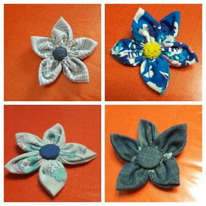 Alcuni esempi di fiorellini in stoffa creati da Zia Luisa - Foto: Luisa Caforio