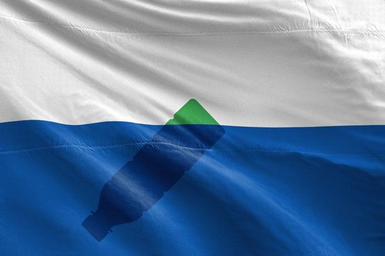 bandiera isola di plastica