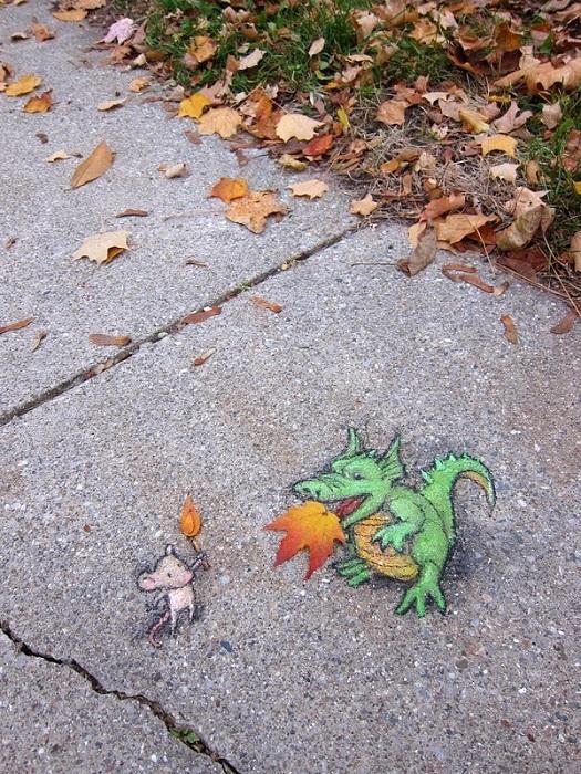 Le foglie diventano fiamme con David Zinn - Photo: David Zinn