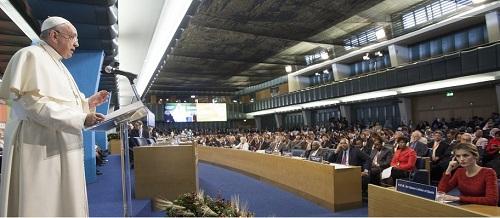 Papa Francesco alla Sede FAO di Roma.