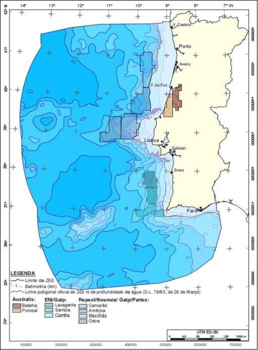 Mappa delle concessioni ancora in vigore sul territorio portoghese