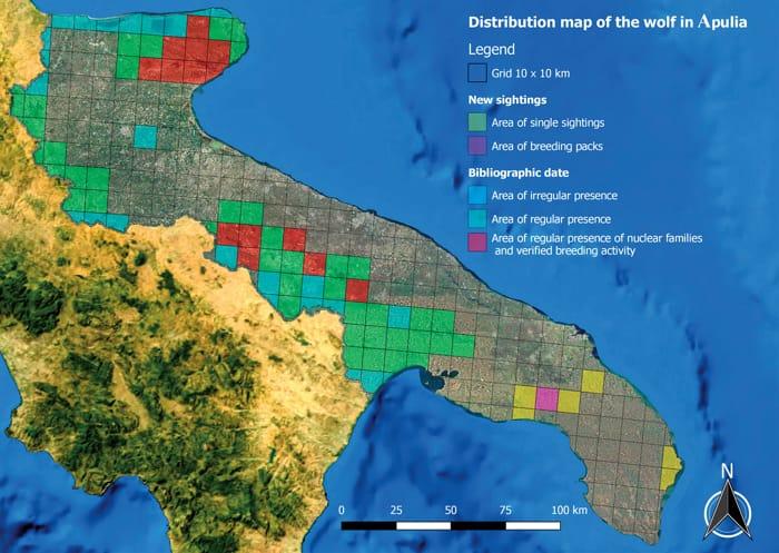 Distribuzione lupo in Puglia