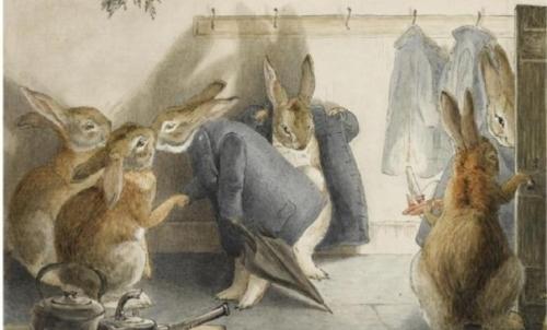 """Beatrix Potter ha raggiunto il successo letterario con """"Il racconto di Peter Coniglio"""", libro illustrato per ragazzi."""