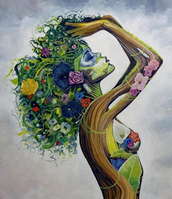 Le opere di BK sono una composizione di corpi femminili e natura