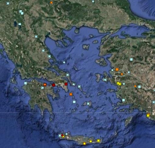 La mappa degli incendi in Grecia nel 2018