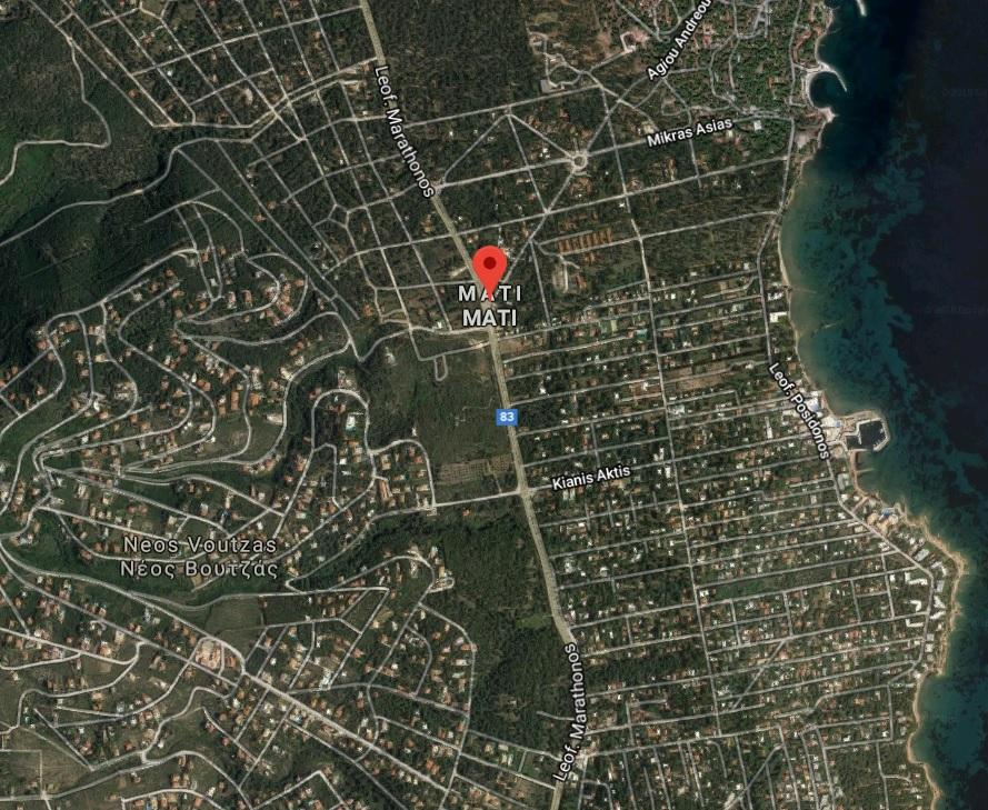 Veduta aerea di Mati, la località greca teatro dell'incendio del 23 e 24 luglio scorso