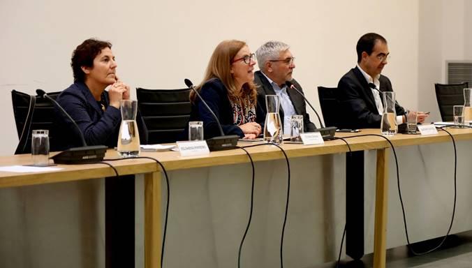 Filomena Pinheiro, Cristina Sousa, Gaetano Capizzi e Mario Braquinho durante il Forum internazionale dei festival del cinema ambientale