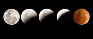 Eclissi totale di luna. Luna, sole e terra si sovrappongono