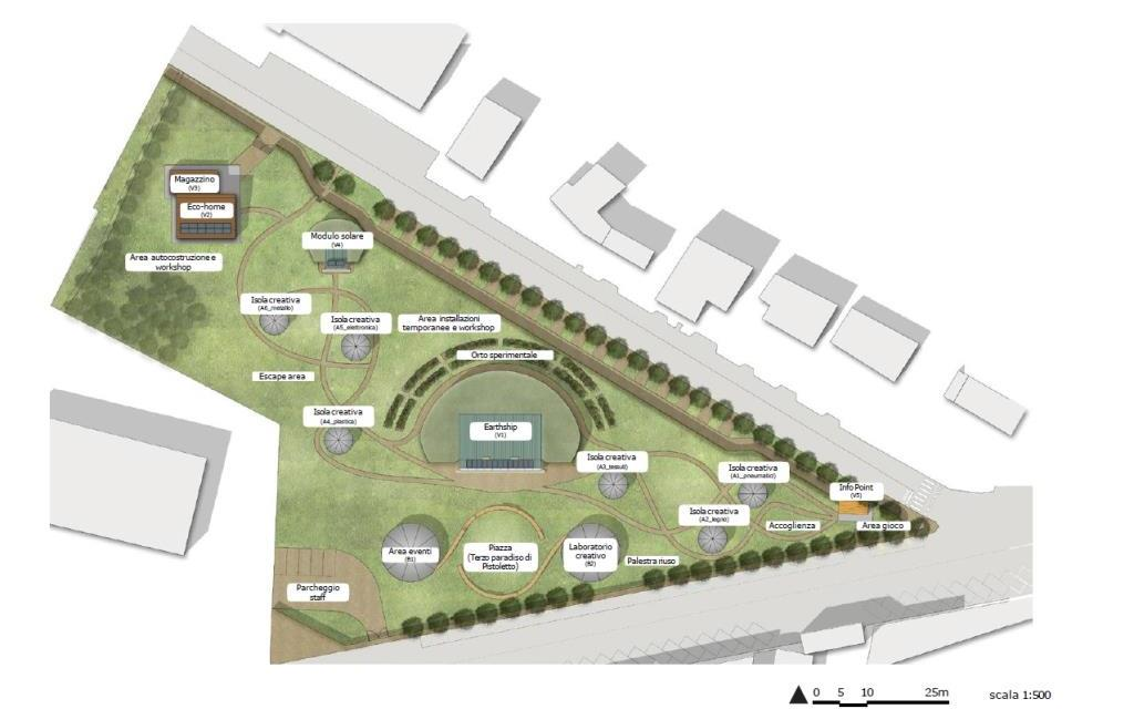 La mappa di ReLand il parco dedicato a riuso e riciclo che sorgerà a Cambiano (To)