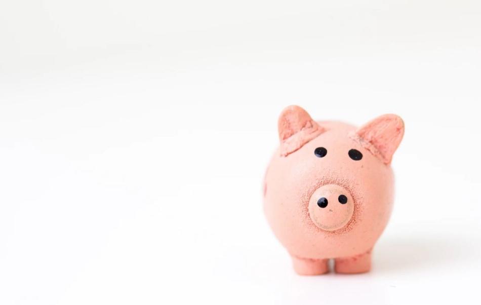 Maialino salvadanaio rosa per monete sfondo bianco