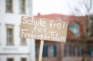 Cartello di protesta dei fridays for future durante una manifestazione contro i cambiamenti climatici