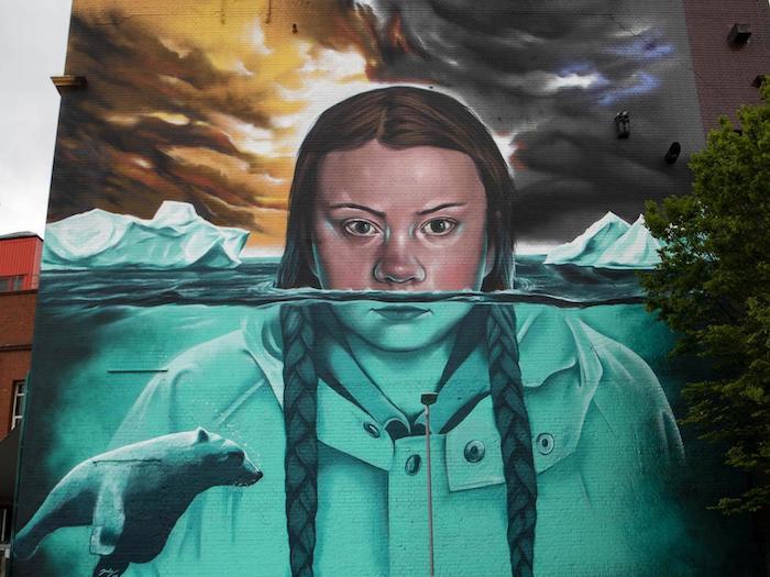 murale Greta Bristol riscaldamento globale