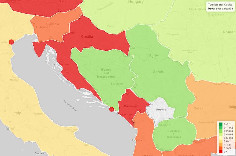 Disneyfication Map Croazia Montenegro sovra-turismo