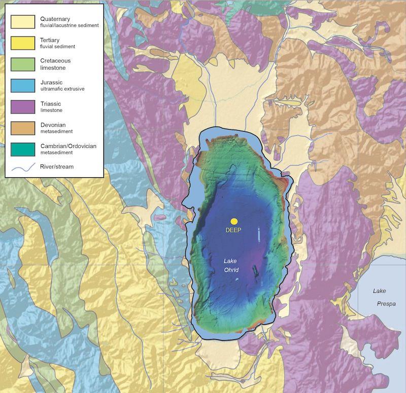 Mappa del lago di Ohrid - Fonte Nature