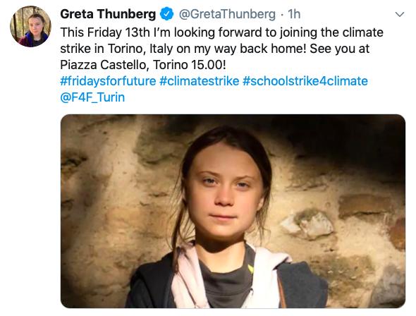 Greta Thunberg Persona dell'Anno 2019 Time a Torino