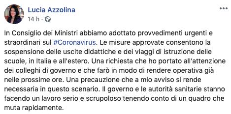 Coronavirus gite sospese tweet Azzolina