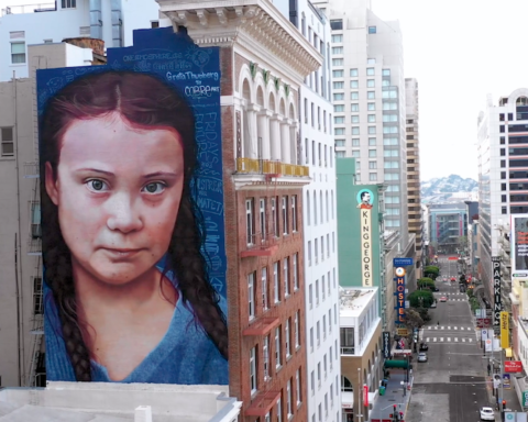 video drone a San Francisco murales Greta lockdown coronavirus