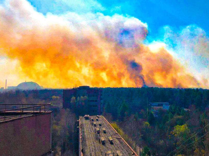 Incendi nelle foreste di Chernobyl Pripyat