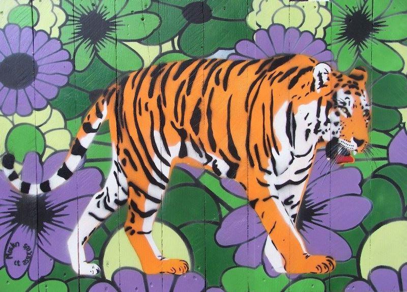 Le tigre de la Seine-et-Marne. Location: Seine-et-Marne, Francia. Artista: Mosko et associés (moskopeintreurbain.blogspot.fr)
