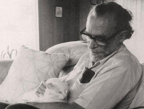 Charles Bukowski mentre coccola uno dei suoi tanti gatti.