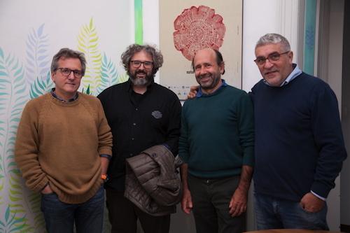 """Da sinistra Luca Bizzaro, Tiziano Fratus, Enrico Camanni e Gaetano Capizzi che saranno protagonisti dei dibattiti di """"Torino e le Alpi"""""""
