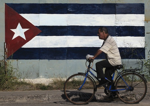 cuba bike and flag