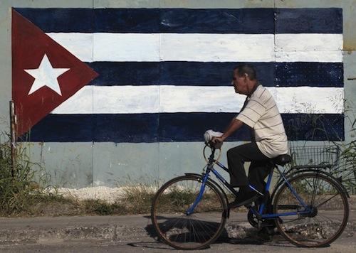 cuba bike and flag