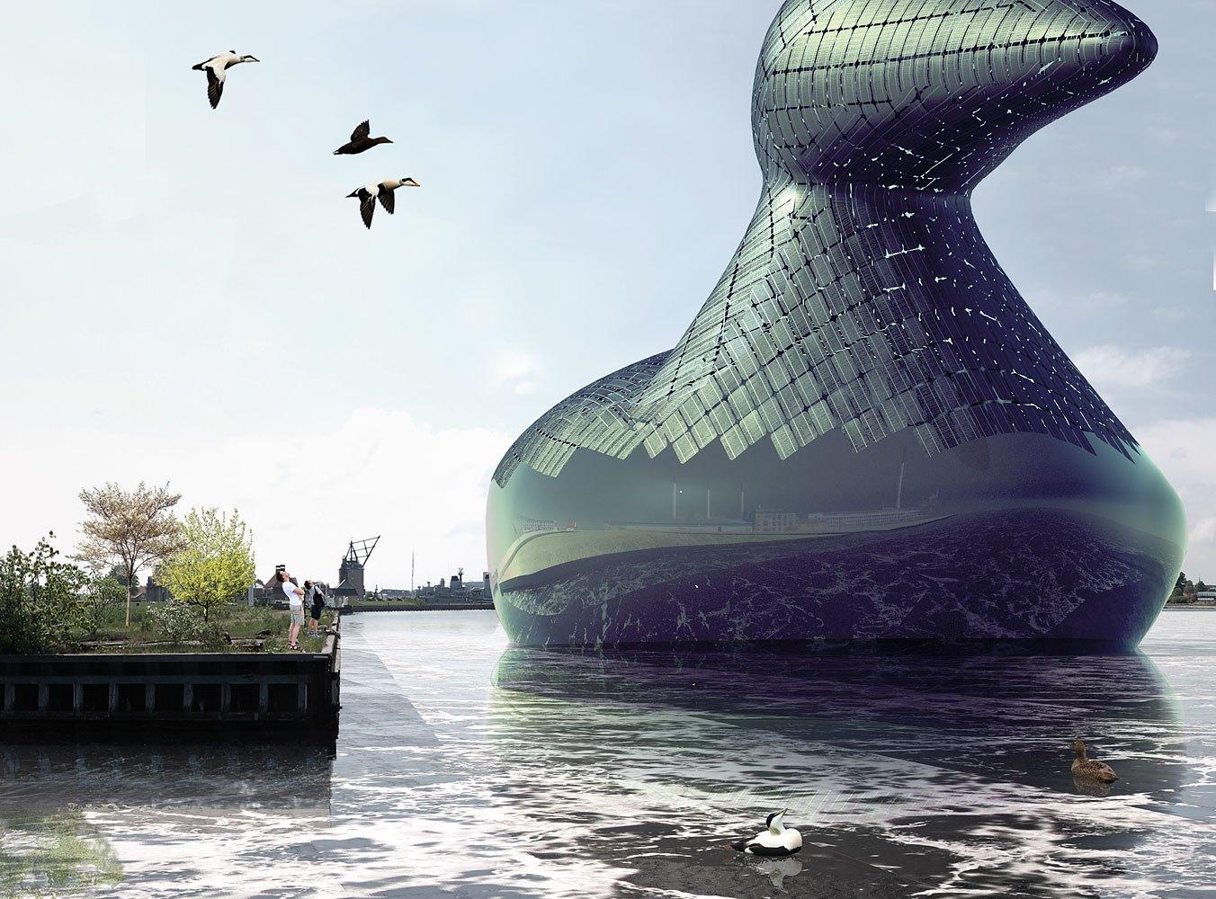 La paperella gigante fatta di pannelli fotovoltaici