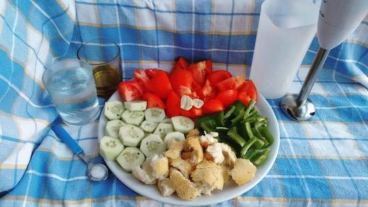 verdure tagliate per il gazpacho
