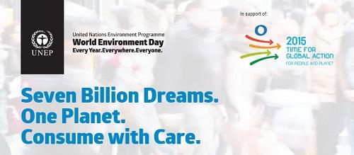 """""""Sette miliardi di sogni. Un pianeta. Consumare con moderazione"""": il logo della Giornata Mondiale dell'Ambiente 2015"""